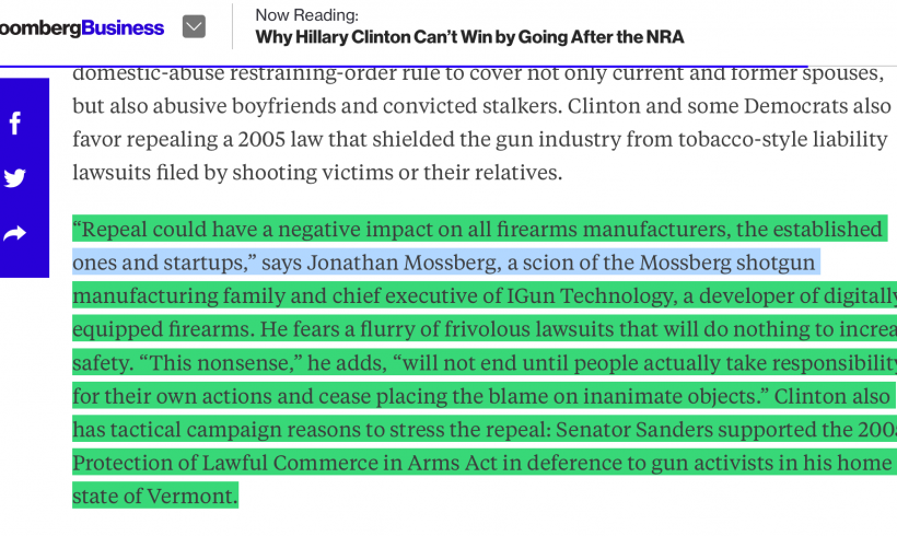 Mossberg quoted in Bloomberg Business